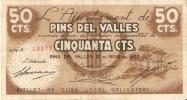 BILLETE DE 50 CTS DEL AJUNTAMENT DE PINS DEL VALLES (BANKNOTE) - Non Classificati
