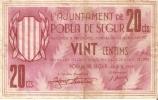 BILLETE DE 20 CTS DEL AJUNTAMENT DE LA POBLA DE SEGUR (BANKNOTE) - Non Classificati