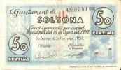 BILLETE DE 50 CTS DEL AJUNTAMENT DE SOLSONA (BANKNOTE) - Non Classificati