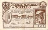 BILLETE DE 25 CTS DEL CONSELL MUNICIPAL DE TORELLO (BANKNOTE) - Non Classificati