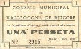 BILLETE DE 1 PTA DEL CONSELL MUNICIPAL DE VALLFOGONA DE RIUCORP (BANKNOTE) - Non Classificati
