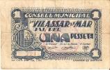 BILLETE DE 1 PTA DEL CONSELL MUNICIPAL DE VILASSAR DE MAR (BANKNOTE) - Non Classificati