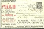REF LSAU4 - EP CP TYPE SAGE 10c TSC PYGMALION OBLITEREE - CARTE  N° 27 - PARIS / LA FUIE 9/11/1899 - Postal Stamped Stationery