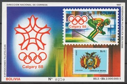 Bolivia 1987 Mi# Bl.165** OLYMPIC GAMES CALGARY 1988 - Bolivie