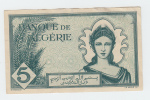 Algeria 5 Francs 16-11- 1942 VF++ CRISP Banknote P 91 - Algeria