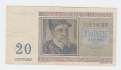 Belgium BELGIQUE 20 Francs 3-4- 1956 VF CRISP Banknote P 132b 132 B - [ 2] 1831-... : Belgian Kingdom