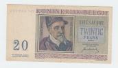 Belgium BELGIQUE 20 Francs 1-7- 1950 VF+ CRISP Banknote P 132a 132 A - [ 2] 1831-... : Belgian Kingdom