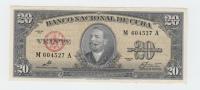 CUBA 20 PESOS 1960 AUNC P 80c 80 C (No PayPal For This Item) - Cuba