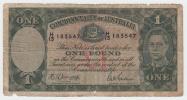 Australia 1 Pound 1942 G-VG Banknote P 26b 26 B - Emisiones De La Segunda Guerra Mundial