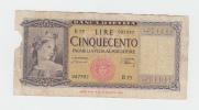 Italy 500 Lire 1947 P 80a 80 A - [ 1] …-1946 : Koninkrijk