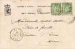 4042# Y&T N° 102 * 2 SAGE / CARTE POSTALE LUXEMBOURG ENTREE DE CLAUSEN Obl VARENNES EN ARGONNE 1900 ESNES - 1877-1920: Periodo Semi Moderno