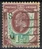 Sello Gran Bretaña 1902, 1 1/2 P. Edward VII, Yvert 108 º - 1902-1951 (Re)