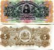 COSTA RICA 5 Colones 1917 P-S122 Xf Unsigned Banknote - Costa Rica