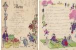 Menu  Décors Dessins Asiatiques Du 06 Décembre 1900 (Série De Quatre) - Menu