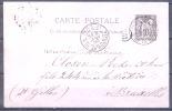 PARIS 21   Le 8 Janv 1890  R.DE LA BASTILLE    Entier Type SAGE Pour    ST GILLES Belgique - Cartoline Postali E Su Commissione Privata TSC (ante 1995)