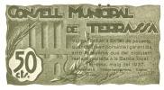 BILLETE DE 50 CTS  DEL CONSELL MUNICIPAL DE TERRASSA   (BANKNOTE) - Non Classificati