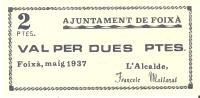 BILLETE DE 2 PTAS  DEL AJUNTAMENT DE FOIXA  (BANKNOTE) - Non Classificati
