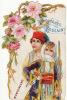CHROMO Découpis Chocolat Poulain Couple Monténégro Fleurs Roses - Poulain