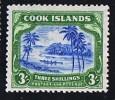 COOK ISLANDS  1944-6  High Value Definitives  3/-  Wmk  Multiple NZ And Star  SG 145  MH * - Cook Islands