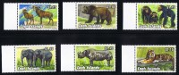 COOK ISLANDS  1992  Endangered Species  Tiger, Rhino. Elephants, Chipnsee. Grizly Bear, Longhorn Sheep  Sc 1095-100 ** M - Cook Islands