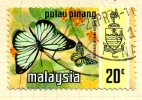 Malaya Penang 1971 Butterflies 20c Definitive, Fine Used - Penang