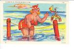 C C Come On In The W Wa Waters F Fine Fat Woman On Beach In Bathingsuit - Comics