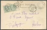 5 Cent. (paire Bdf Interpanneau). Obl. Dc LOURDES (Hautes Pyrenées) S/C.V Du 23-8-1902 Vers Eecloo + Dc SOMMET Du PIC Du - 1900-29 Blanc