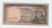 Portugal 20 Escudos 1964 VF++ CRISP Banknote P 16 - Portogallo