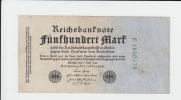 Germany 500 Mark 1922 VF Banknote (7 Green Digit) P 74b 74 B - 1918-1933: Weimarer Republik