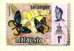 Malaya Selangor 1971 Butterflies 1c Definitive, Fine Used - Selangor