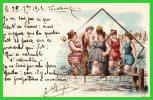 """THEME Les BAINS De MER """"Baigneuses Aux Toutous"""" (recto Verso) - Künstlerkarten"""