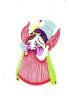 TOP!! WUNDERSCHÖNER ALTER SCHERENSCHNITT * 7 X 11 Cm IN BUNT * HANDGEMALTE OPERNMASKE**!! - Chinese Paper Cut