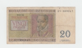 Belgium BELGIQUE 20 Francs 3-4- 1956 VG P 132b 132 B - [ 2] 1831-... : Koninkrijk België