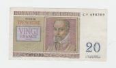 Belgium BELGIQUE 20 Francs 3-4- 1956 VF++ CRISP Banknote P 132b 132 B - [ 2] 1831-... : Koninkrijk België