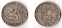 PERU  1  SOL  1875  ARGENT  RARE ! - Pérou