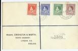 1938 New Guinea Registered Cover GVI Set Of Four Rabaul Postmark To UK - Papua New Guinea