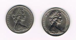 ) AUSTRALIE  2 X 20 CENTS  1966/1972 - Monnaie Décimale (1966-...)