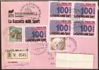 GIORNALI - ITALIA VELATE MILANESE (MI) 1996 - 100° ANNIVERSARIO GAZZETTA DELLO SPORT - RACCOMANDATA - Timbres