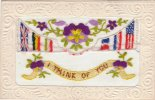 SILK CARD I THINK OF YOU INCLUDING INSERT (SIL104) - Bestickt