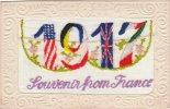 SILK CARD SOUVENIR FROM FRANCE 1917 INCLUDING INSERT (SIL100) - Bestickt