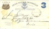REF LCIRC2 - PEROU C. P. 3c VOYAGEE LIMA / PARIS 29/12/1897 REPIQUAGE AU VERSO - Pérou