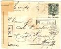 REF LCIRC2 - CHILI - ENVELOPPE VOYAGEE EN RECOMMANDE AR QUILLOTA / NANCY 22/11/1915 CENSURE FRANCAISE - Chili