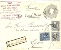 REF LCIRC2 - CHILI - ENVELOPPE VOYAGEE EN RECOMMANDE SANTIAGO / LYON MAI 1909 - Chili