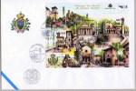 FDC SAN MARINO SÉRIE TOURISME - ÉGLISES PALAIS TOURS PORTES FACIAL 3,90 EUR. - Monumentos