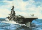 Aviation Art Postcard By Artist Gustav Hybner  -  Aircraft Carrier HMS Illustrious - 1939-1945: II Guerra