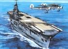 Aviation Art Postcard By Artist Gustav Hybner  -  Aircraft Carrier HMS Ark Royal - 1939-1945: II Guerra