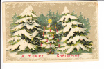 Merry Christmas Pine Trees With Faces Embossed - Christmas
