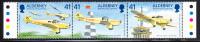 Alderney Scott #89 MNH Strip Of 3 41p Career Of Flt. Lt. Tommy Rose DFC - Alderney
