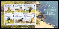 Alderney Scott #238a MNH Souvenir Sheet Of 6 Migrating Birds - Passerines - Alderney