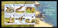 Alderney Scott #190a MNH Souvenir Sheet Of 6 Migrating Birds - Raptors - Alderney